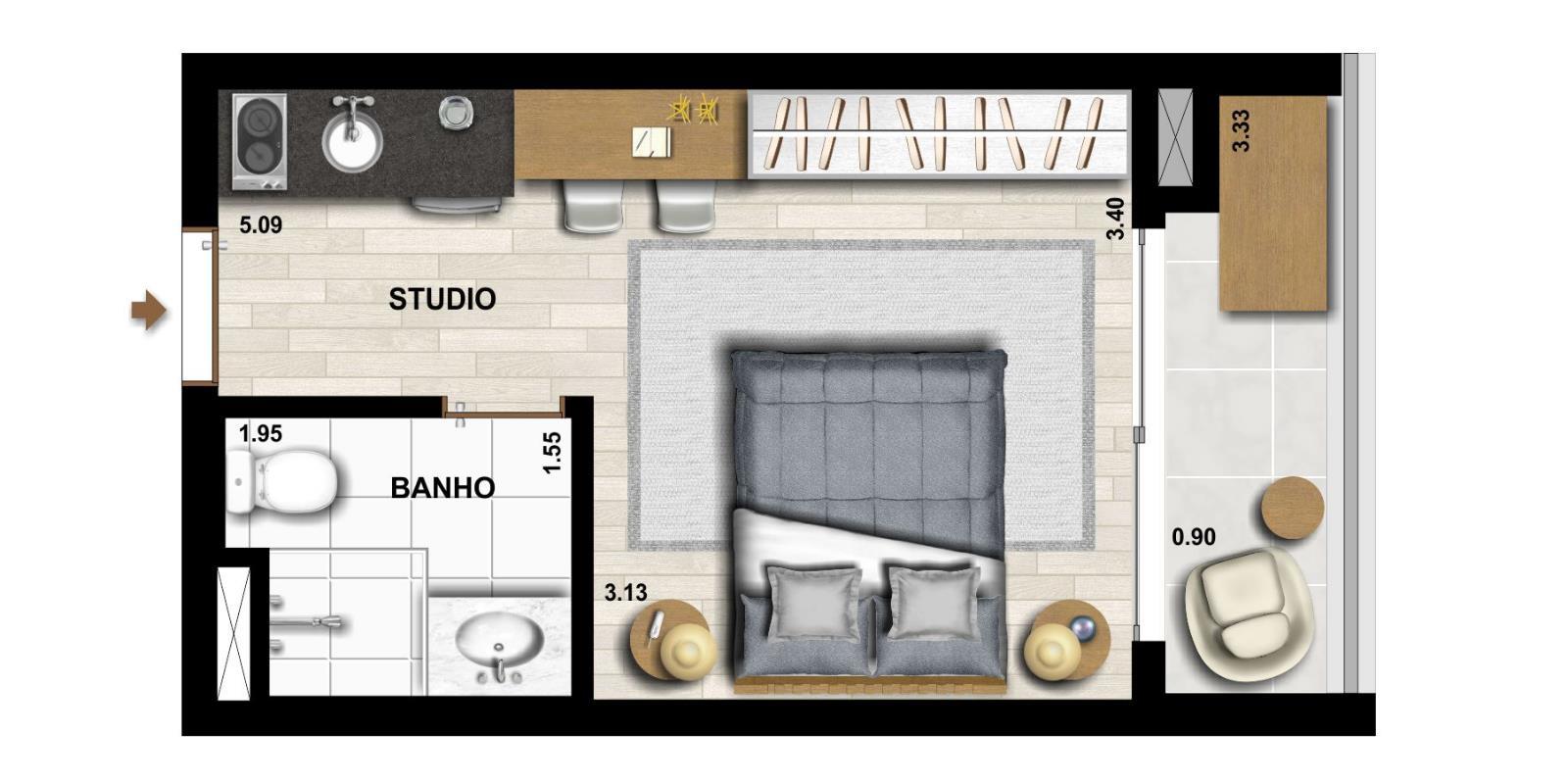 Studio - 23m²